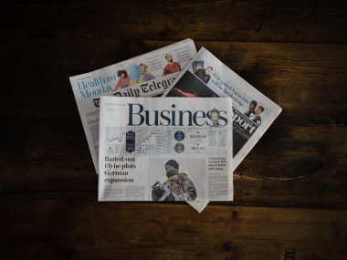 Business section of a newspaper
